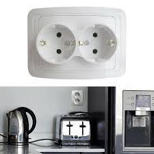 2fach doppel zweifach steckdose unterputz weiß 16a 250v europäische erdung re white