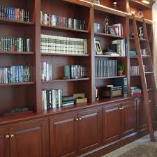 Custom Made Bookcase Wall With Ladder By Odhner Fine Woodworking Inc