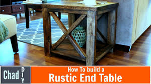 How To Build Wooden End Table by Diy Rustic Cross End Table Youtube