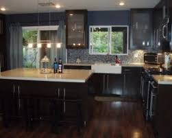 Elegant Minimalist Kitchen Decor With Asian Style Laminate Dark Wood Flooring Ideas Espresso Wooden Cabinet