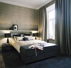 Spectacular Apartment Bedroom Ideas Bed Table Calm Curtain Color For Big Window Facing Double On Black Carpet In
