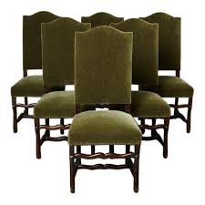 Set Of Six French Louis XIV Style Os De Mouton Dining Chairs In Green Mohair For
