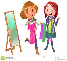 Shopping Women In Clothing Store