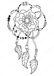 Vector Boho Flower With Feathers Pattern For Coloring Book Stock 100237470