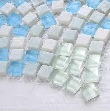 blue glass white marble luminous mosaic tile kitchen backsplash