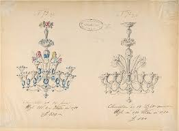 One Of Twenty Three Sheets Drawings Glassware Mirrors Chandeliers Goblets