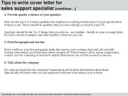 Support Specialist Cover Letter 4 Tips To Write For Sales Office Sample