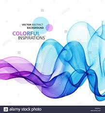 Abstract colorful wave background Vector transparent smoke lines
