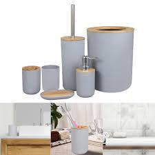 moderne badezimmer zubehör set papierkorb seife dispenser zahnbürste tumbler grau modern badezimmerzubehörset 74 x 74 x 113 mm