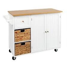 White Rolling Kitchen Island With Baskets