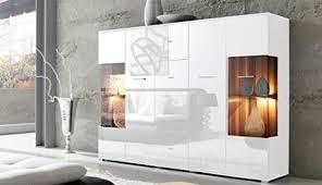 lifestyle4living highboard mit fronten in weiß hochglanz korpus in weiß kommode mit 4 türen und 4 schubladen moderne anrichte mit soft und