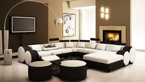 deco in canape d angle panoramique design en cuir noir et