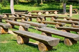 Outdoor Wood Benches Green Lawn Image