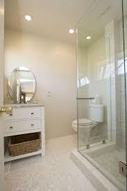 contemporary 3 4 bathroom with frameless showerdoor tile