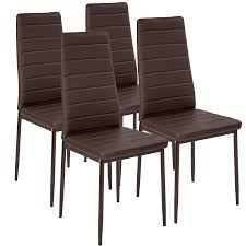 Details About 4 Modern Dining Chairs Dining Room Chair Table Faux Leather  Furniture Cozy Brown