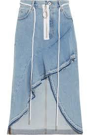 white asymmetric wrap effect ruffled denim skirt net