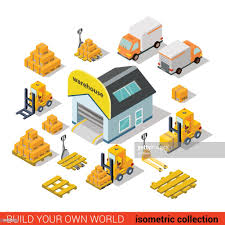 100 Truck Loader 10 Flat 3d Isometric Warehouse Delivery Building Transport Infographic
