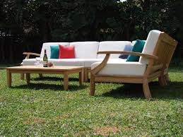 5 PC TEAKWOOD TEAK WOOD INDOOR OUTDOOR PATIO SECTIONAL SOFA SET