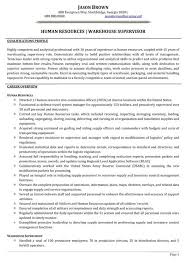 Human Resources Warehouse Supervisor Resume Sample Writer Skills Manager