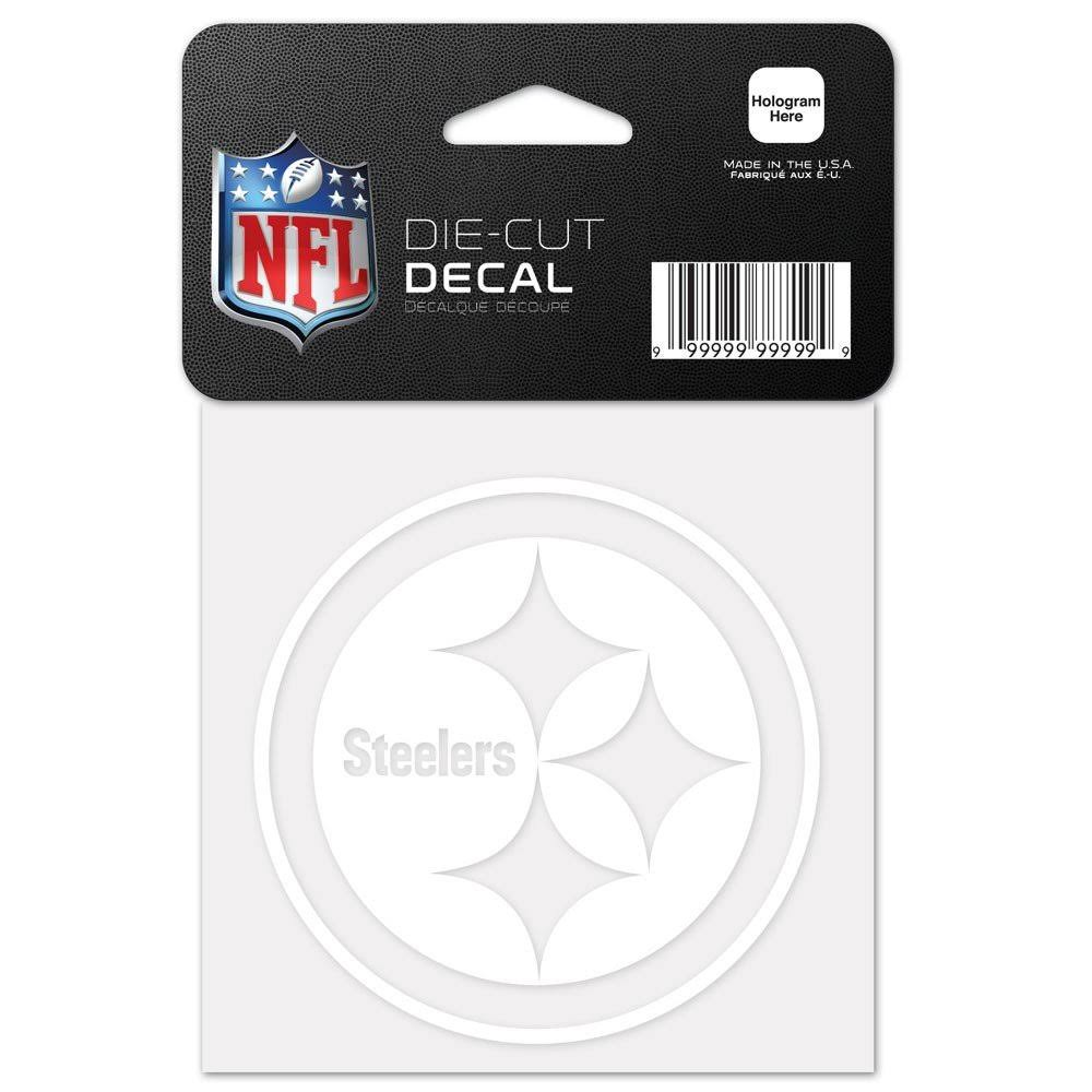 "Pittsburgh Steelers Perfect Cut White Decal 4"" x 4"""