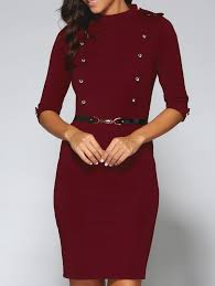 belted double breasted work sheath dress red xl in bodycon