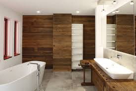alte werkbank als waschtisch für modernes badezimmer