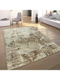 paco home designer teppich modern trendig meliert steinoptik mauer muster wohnzimmer braun klingel