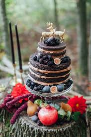 Rustic Forest Wedding Cake With Berry