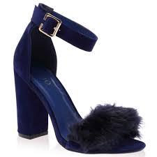 ladies buckled ankle strap womens peep toe faux fur block heel