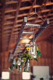Hanging Ladder With Mason Jar Lights At This Rustic Wedding I Have Several Old Ladders