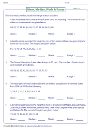 mode median and range median mode and range worksheets