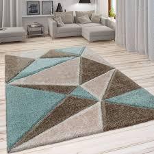 hochflor teppich wohnzimmer dreieck muster