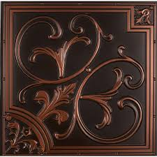 Antique Ceiling Tiles 24x24 by Yes Copper Drop Ceiling Tiles Ceiling Tiles The Home Depot