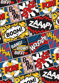 Modern Comic Book Superhero Pattern Color Colour Cartoon Lichtenstein Pop Art Print