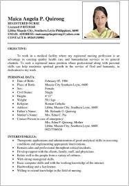 Filipino Resume Sample Kleo Beachfix Co