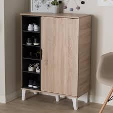 Baxton Studio Shoe Cabinet by Baxton Studio Adelina Mid Century Modern 1 Door Oak And Grey Wood