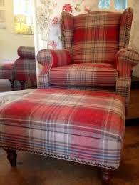 sandersons side wing back chair in finest wool check tartan