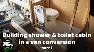 Shower And Toilet Cabin Building In Van Conversion Wood Frame Bathroom For Diy Campervan Or RV