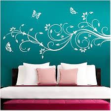 grandora wandtattoo blumenranken schmetterlinge blumen i weiß bxh 90 x 39 cm i schlafzimmer liebe flur wohnzimmer modern aufkleber wandaufkleber