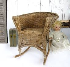 Vintage Childs Rocking Chair Small Primitive Rattan Barrel Back Rustic Doll  Rocker Bamboo Bentwood