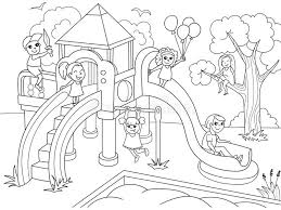 Childrens Playground Coloring Vector Illustration Of Black And With Regard To Children Clipart