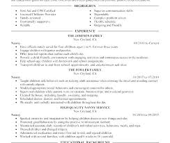 Resume Job Skills Checklist Example Of For A Nanny Resumes Sample Housekeeper Description Obje