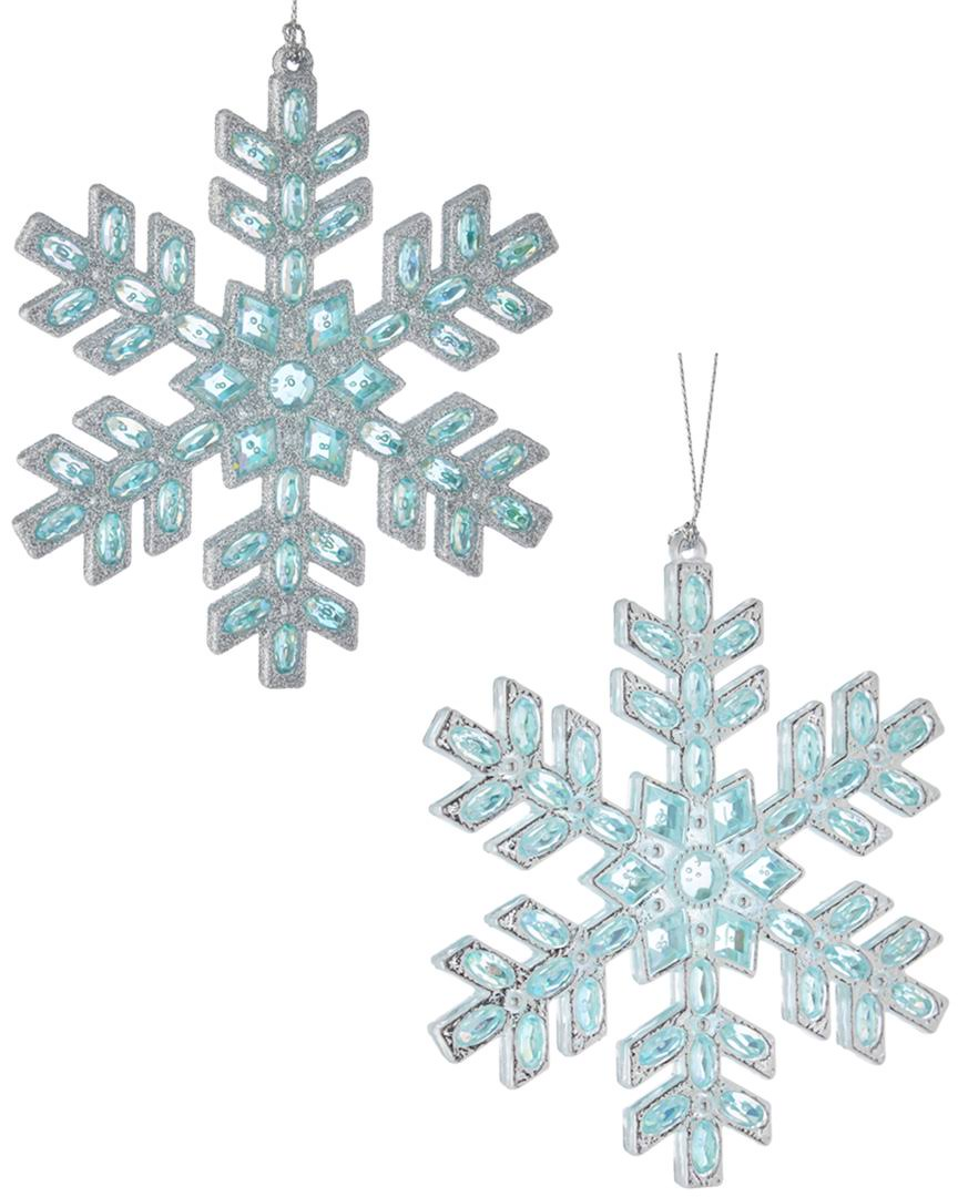 2 Assorted Acrylic Silver and Blue Snowflake Christmas Tree Ornaments