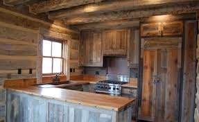 Old Styled Reclaimed Wood Kitchen Cabinet For Rustic House Interior And Furniture
