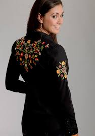Stetson Womens Beaded Embroidery Sanded Poplin Western Shirt