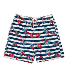 100 Coc Republic O Mens Striped Floral Board Shorts In Navy Blue