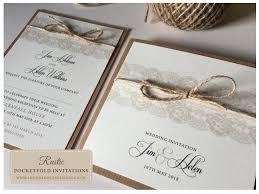 Rustic Heart Wedding Invitations Lace