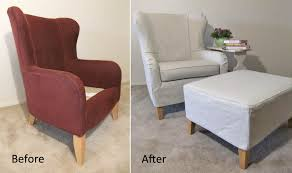 Karlstad Chair Cover Pattern by Furniture Perfect For Unexpected Guests With Ottoman Slipcovers