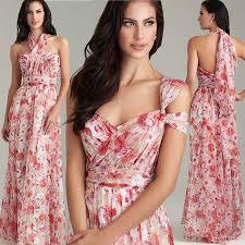 bohemia floral pattern bridesmaid dresses long sweetheart a line