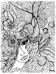 Free Coloring Page Coloriage Visage Et Vegetations
